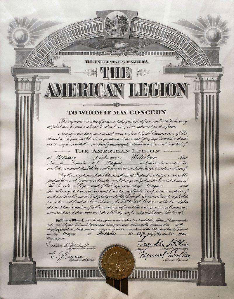 Hillsboro American Legion Post 6 Charter